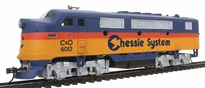 Model Power F2-A Dual Drive, Powered w/Light Chessie System -- HO Scale Model Train Diesel Locomotive -- #96802