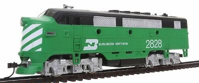 Model Power F2-A Dual Drive Powered Burlington Northern -- HO Scale Model Train Diesel Locomotive -- #96805
