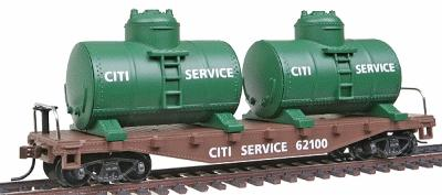 Model Power 40' Flat with 2 Tanks Citi Service -- HO Scale Model Train Freight Car -- #98160