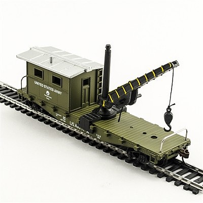 Model Power Working Caboose w/ Crane US Army -- HO Scale Model Railroad Freight Car -- #98195