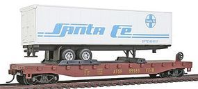 Model-Power 51 Heavyweight Flatcar w/ 40 SF Trailer w/Operating Doors HO Scale Model Railroad #98350