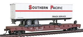 Model-Power 51 Heavyweight Flatcar w/ 40 SP Trailer w/Operating Doors HO Scale Model Railroad #98353