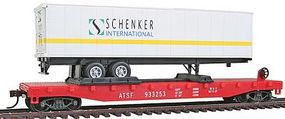 Model-Power 51 Heavyweight Flatcar w/40 Trailer ATSF HO Scale Model Train Freight Car #98357
