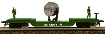 Model Power Flat Car w/US Army Search Light Military Action Series -- HO Scale Model Train Freight Car -- #98664