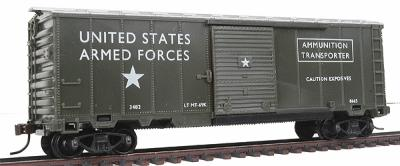 Model Power 40' Ammunition Box Car Military Action Series -- HO Scale Model Train Freight Car -- #98665