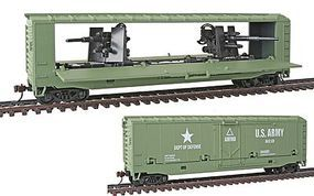 Model-Power US Army Tank Buster Hidden Gun Q - Box Car HO Scale Model Train Freight Car #99162