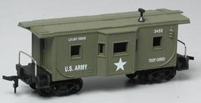 Model-Power US Army Caboose #3455 HO Scale Model Train Freight Car #99165