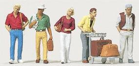 Merten Passengers with Luggage Cart Model Railroad Figure HO Scale #2550