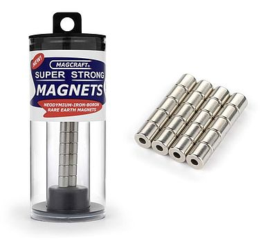 Magcraft Rare Earth Magnets 1/4''x1/10''x1/4'' Rare Earth Cylinder Magnets (20)