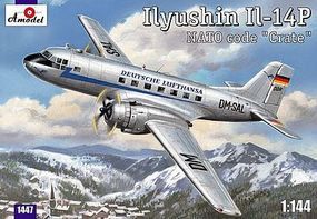 A-Model-From-Russia IL14P NATO Code Crate Lufthansa Personnel/Cargo Plastic Model Airplane Kit 1/144 #1447