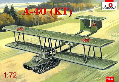 A-Model From Russia Antonov A40 (KT) Proto-Type Flying Tank using T60 -- Plastic Model Airplane Kit -- 1/72 -- #72202