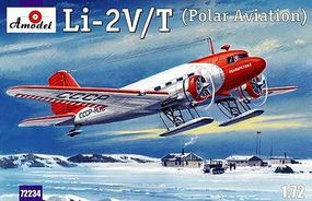 A-Model-From-Russia Lisunov Li2V/T Soviet Polar Aircraft w/Skis Plastic Model Airplane Kit 1/72 Scale #72234