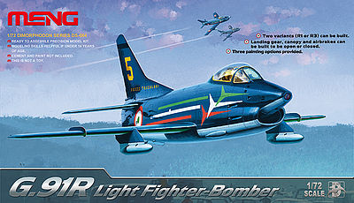 Meng Model Kits G.91R Light Fighter Bomber -- Plastic Model Airplane Kit -- 1/72 Scale -- #ds004