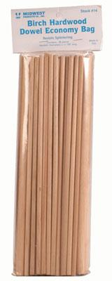 Midwest Birch Hardwood Dowel Economy Bag -- Hobby and Craft Wood Dowel -- #14