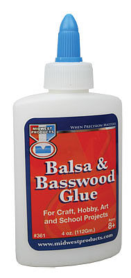 Midwest Balsa & Basswood Glue 4oz -- Hobby and Craft Wood Glue -- #361