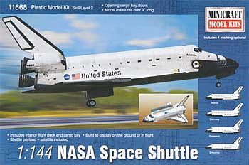 Minicraft NASA Space Shuttle Plastic Model Kit Space Craft Kit 1/144 Scale #11668