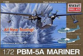 Minicraft Martin Mariner PBM5/5A w/2 USN Marking Plastic Model Airplane Kit 1/72 Scale #11669