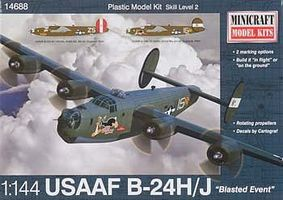 Minicraft B-24H/J USAAF/CAF w/2 Marking Options Plastic Model Airplane Kit 1/144 Scale #14688