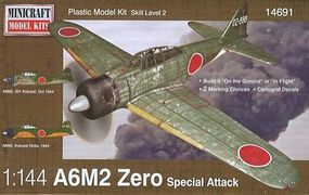 Minicraft A6M2 Zero IJN/IJA w/2 Marking Options Plastic Model Airplane Kit 1/144 Scale #14691