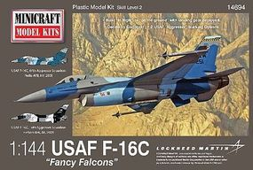 Minicraft F-16 USAF Fancy Falcons w/3 Marking Options Plastic Model Airplane Kit 1/144 Scale #14694