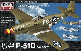 Minicraft P-51D USAAF with 2 Marking Options Plastic Model Airplane Kit 1/144 Scale #14716
