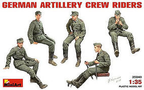 Mini-Art German Artillery Crew Riders Plastic Model Military Figure 1/35 Scale #35040