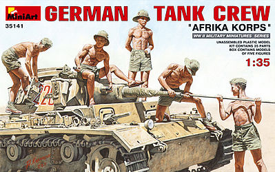 Mini-Art German Tank Crew Afrika Korps (5) -- Plastic Model Military Figure -- 1/35 Scale -- #35141