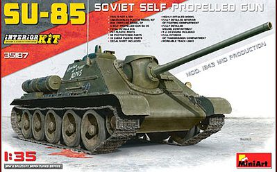Mini-Art SU-85 Soviet Self-Propelled Gun -- Plastic Model Military Vehicle Kit -- 1/35 Scale -- #35187