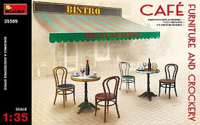 Mini-Art Cafe Furniture Tables/Chairs w/Accessories Plastic Model Diorama All Scale 1/35 #35569