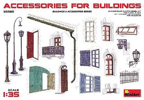 Mini-Art 1/35 Accessories for Buildings- Gutter, Fence, Various Doors, Windows & Lamp Posts (New Tool)