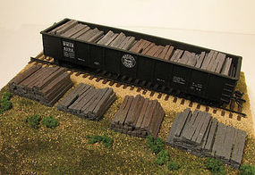 Monroe Weathered Railroad Tie Stacks (4) HO Scale Model Train Freight Car Load #2108