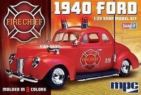 MPC 1940 Ford Fire Chief Super Snap Tite Plastic Model Vehicle Kit 1/25 Scale #815
