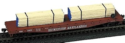 Model Railstuff Banded Lumber Stack Blue Ends (2) -- Model Train Freight Car -- HO Scale -- #142