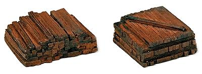 Model Railstuff Material Piles Stacked Railroad Ties -- Model Train Building Accessory -- HO Scale -- #150