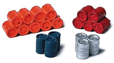 Model Railstuff 55 Gallon Oil Drums Stacked Assorted Colors -- Model Railroad Building Accessory -- HO Scale -- #160