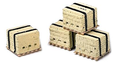 Model Railstuff Banded Bricks on Pallets Yellow (4) -- Model Railroad Building Accessory -- HO Scale -- #530