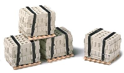 Model Railstuff Banded Concrete Blocks on Pallets -- Model Railroad Building Accessory -- HO Scale -- #540