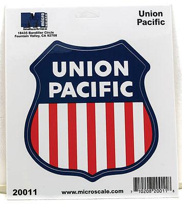 Microscale inc union pacific die cut vinyl sticker model railroad puzzle print sign