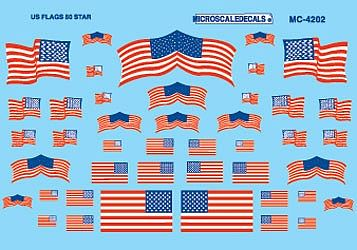 Microscale Inc American 50-Star Flags Decals -- HO Scale Model Railroad Decal -- #4202