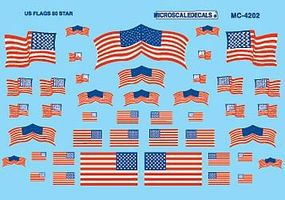 Microscale American 50-Star Flags Decals HO Scale Model Railroad Decal #4202