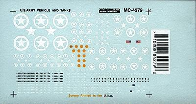 Microscale Inc Mini-Cal All Vehicles Tanks, Jeeps, etc. (1940s+) -- HO Scale Model Railroad Decal -- #4279