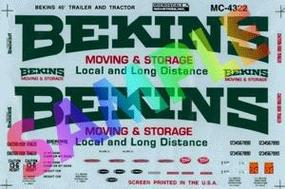 Microscale Bekins Moving & Storage 40 Tractor/Trailer (1970-1980) HO Scale Model Railroad Decal #4322