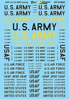 Microscale USAF And U.S. Army Lettering O Scale Model Railroad Decal #480031