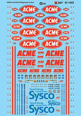 Microscale Inc ACME & Sysco Refrigerated Trailers -- N Scale Model Railroad Decal -- #601453
