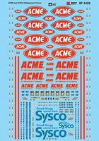 Microscale ACME & Sysco Refrigerated Trailers N Scale Model Railroad Decal #601453