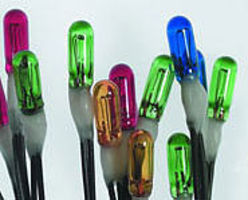 Miniatronics 12v 2.4mm Dia. Incandescent Lamp (5 each Red, Blue, Green, Yellow) (20) Model Railroa #18a1220