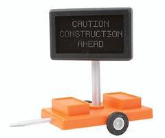 Miniatronics Caution Construction Ahead Highway Sign w/Transformer O Scale Model Railroad Accessory #855010