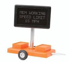 Miniatronics Men Working Speed Limit 15 MPH Highway Sign O Scale Model Railroad Accessory #8550301