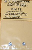 M-V-Products Clear (2) for PFM Pacific Coast Shay & NP S4 4-6-0 NWSL E2a 4-6-2 Miscellaneous Train Part #13
