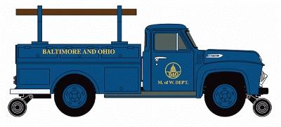 Classic Metal Works 1954 Ford F350 Hy-Rail Utility Truck Baltimore & Ohio -- HO Scale Model Railroad Vehicle -- #30237